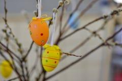 Ostereier, die von den Weidenniederlassungen hängen Gemalte Eier und Blumen Lizenzfreies Stockbild