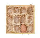 Ostereier in einem hölzernen Kasten lizenzfreie stockbilder