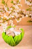 Ostereier in einer dekorativen Schüssel Lizenzfreies Stockfoto