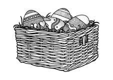Ostereier in einer Korbillustration, Zeichnung, Stich Stockfoto