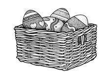 Ostereier in einer Korbillustration, Zeichnung, Stich Stockfotos