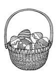 Ostereier in einer Korbillustration, Zeichnung, Stich Lizenzfreies Stockfoto