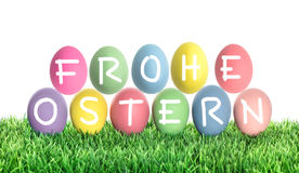 Ostereier Frohe Ostern fröhliche Ostern Bunte Dekoration Lizenzfreies Stockfoto
