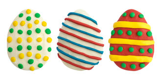 Ostereier gemacht von der mehrfarbigen Knetmasse Stockfoto