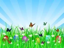 Ostereier im Gras lizenzfreie abbildung