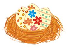 Ostereier im Nest stock abbildung