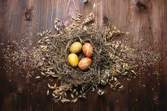 Ostereier im Nest Lizenzfreie Stockfotografie