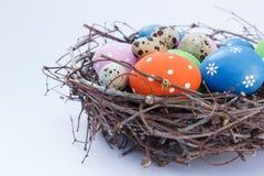 Ostereier im Nest auf dem Tisch Lizenzfreie Stockbilder