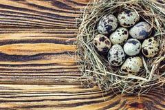 Ostereier im Nest auf rustikalem hölzernem Hintergrund mit Kopienraum Lizenzfreies Stockbild