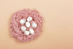 Ostereier im rosa Nest lizenzfreies stockfoto