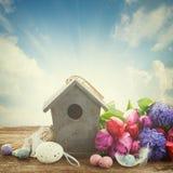 Ostereier mit Birdcage Stockbilder