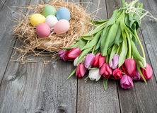 Ostereier mit Tulpen lizenzfreie stockbilder