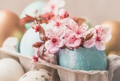 Ostereier und Frühlingsblumen auf rustikalem hölzernem Hintergrund Ostern-Feiertagskarten-Kopienraum lizenzfreie stockbilder