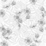 Ostereier und Frühlingsblumen in Schwarzweiss lizenzfreie abbildung