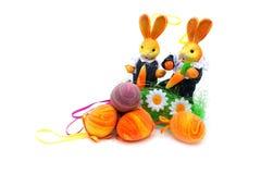 Ostereier und Kaninchen Stockfotografie