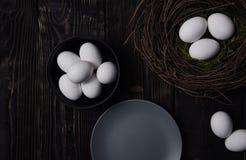 Ostereier und Vogelnest Lizenzfreies Stockfoto