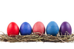 Ostereier werden in Folge gelegt Lizenzfreies Stockbild