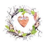 Ostereier, Zweige, Federblätter, Federn, Weinleseherz Blumen-Ostern-Karte Aquarell in der rustikalen, ländlichen Art lizenzfreies stockbild