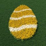 Ostereiform mit Frühling blüht auf einer grünen Wiese Stockbild