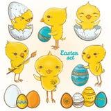 Ostereiküken Karikatur polar mit Herzen Lizenzfreie Stockfotos