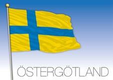Ostergotland regional flag, Sweden, vector illustration royalty free stock photo