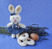 Osterhase mit Ei, Keksen und Lavendel Lizenzfreies Stockbild