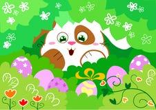 Osterhase mit Eiern Lizenzfreie Stockfotos