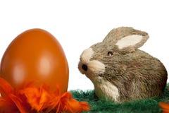 Osterhase mit einem orange Ei Stockbilder