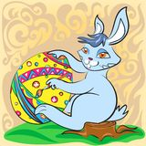 Osterhase mit großem Ei und Bürste Lizenzfreie Abbildung