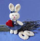 Osterhase mit rotem Herzen und Keksen auf Lavendelhintergrund Stockfotos