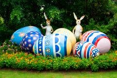 Osterhase und Eier Stockbild