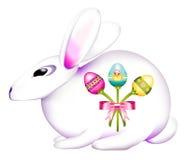 Osterhase verziert mit einem Blumenstrauß der Eier Lizenzfreies Stockfoto