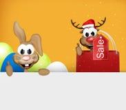 Osterhasen-und Ren-Weihnachten greift oben ab Lizenzfreies Stockbild