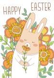 Osterhasenkarte mit netten Blumen Lizenzfreies Stockfoto