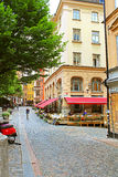 Osterlanggatan street in Gamla Stan, Stockholm, Sweden Royalty Free Stock Images