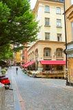 Osterlanggatan street in Gamla Stan, Stockholm, Sweden royalty free stock images