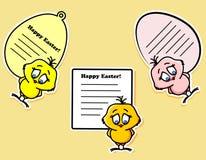 Ostern-Aufkleber mit dem Huhn Stockbilder