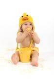 Ostern-Baby in Duck Costume lizenzfreies stockfoto