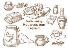 Ostern-Backen Heißes coss Brötchen england stockfotografie