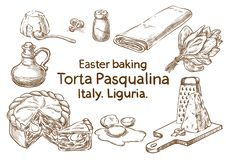 Ostern-Backen TORTA PASQUALINA Italien Vektor scetch stockfotos