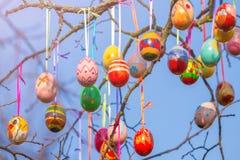 Ostern-Baumast mit Eiern Stockfotografie