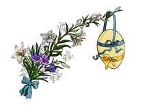 Ostern-Blumenstrauß von Blumen mit dem Ei, das am Band in der Weinleseart lokalisiert auf Weiß hängt vektor abbildung
