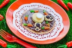 Ostern Bunny Breakfast Pancake Lizenzfreie Stockbilder