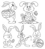 Ostern Bunny Cartoon Characters Line-Art Set Lizenzfreies Stockfoto