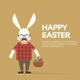 Ostern Bunny Hipster Style Mustache Glasses Lizenzfreies Stockbild