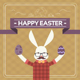 Ostern Bunny Hipster Style Mustache Glasses, der Ei hält Stockfotos