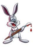 Ostern Bunny Holding Paintbrush 1 Lizenzfreie Stockfotografie