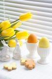 Ostern-Dekoration mit gelben Tulpen, keramischen Kaninchen und farbigen Eiern über hellem Hintergrund Stockfotos