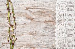 Ostern-Dekoration mit Weidenkätzchen und Spitzestoff Stockfotos