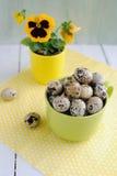 Ostern-Dekorationen - Eier, Blume und Schalen Stockfotografie
